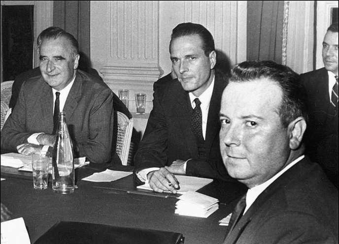 Georges Pompidou, Jacques Chirac et Georges Séguy, le 27 mai 1968, à Paris.