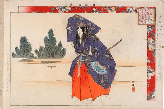« Seiobo, reine de l'Ouest », dessin extrait de la série « Images du nô », de Kogyo Tsukioka (1869-1927).