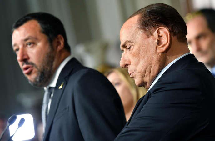 Le leadeur de Forza Italia, Silvio Berlusconi, et celui de la Ligue du Nord, Matteo Salvini, aupalais présidentiel, à Rome, le 7 mai.
