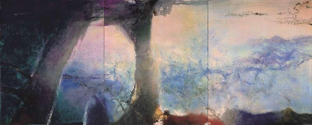 """«Comme tous les peintres étrangers venus à Paris après la seconde guerre mondiale, Zao Wou-ki est saisi par la découverte des """"Nymphéas"""" de Monet au Musée de l'Orangerie. Il y fait l'expérience de l'immersion dans la peinture et n'aura de cesse de retrouver dans ses grands formats une impression semblable.»"""