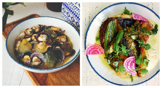 Pétoncles noirs au sautoir (à gauche) et sole de Belle-Île aux légumes rôtis et fleurs de kale.