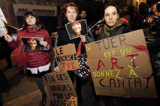 Une manifestation contre la venue de Bertrand Cantat à Montpellier,le 12 mars 2018.
