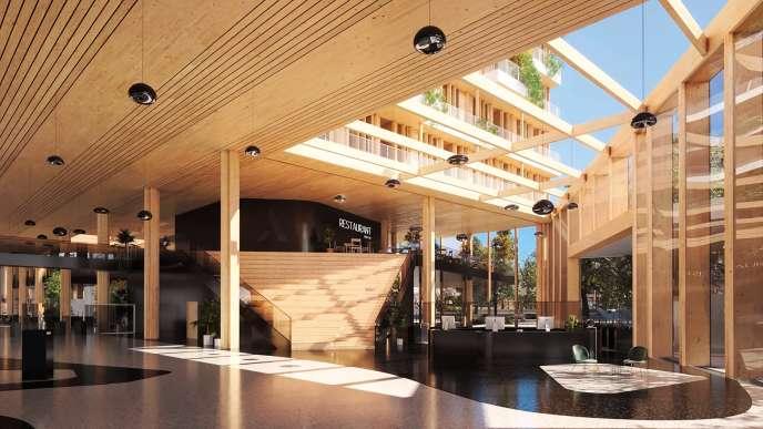 L'Arboretum, immeuble de bureaux en bois massif situé à Nanterre. Sa livraison est prévue en 2022.
