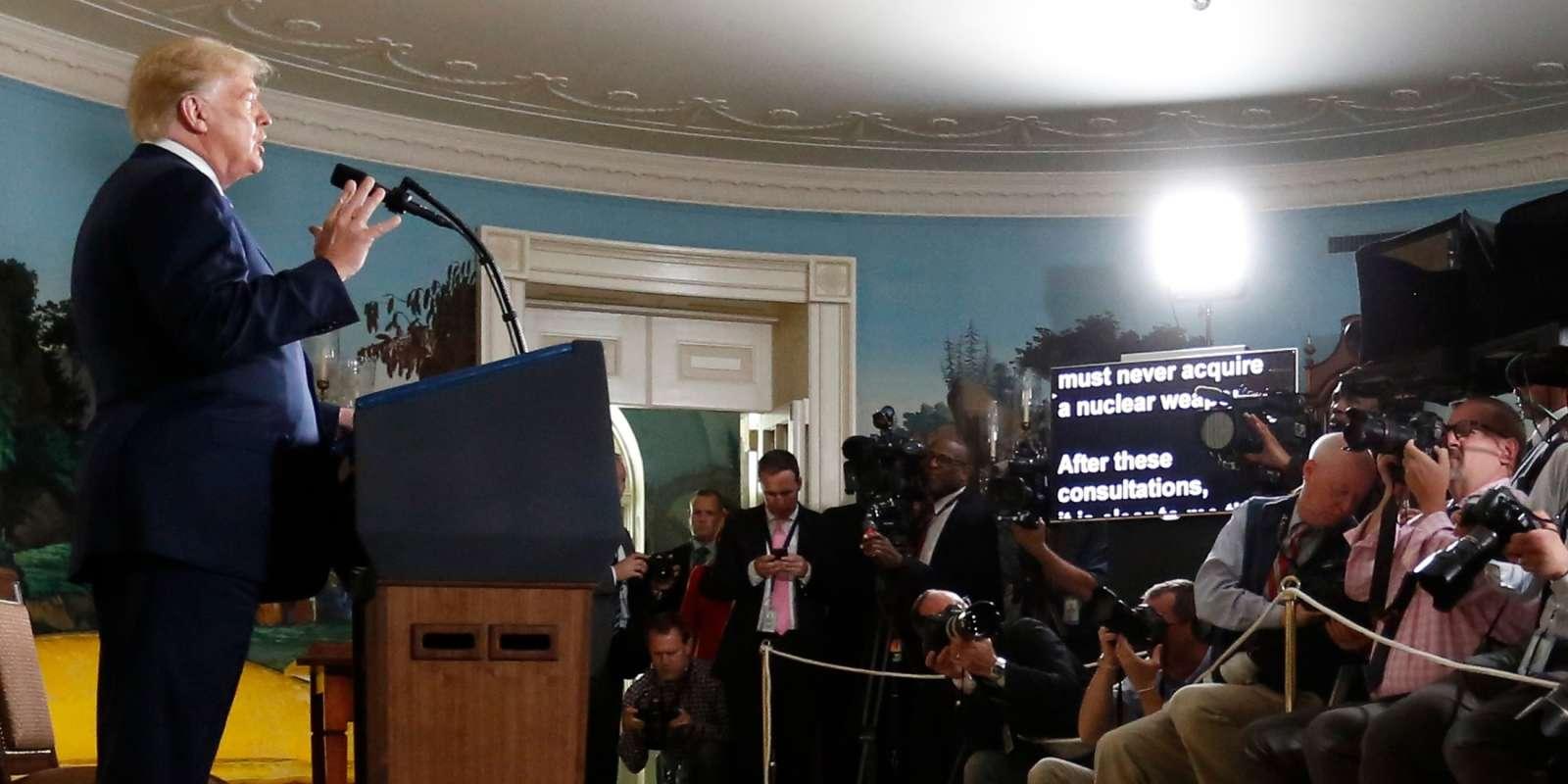 Donald Trump, lors de son allocution annonçant le désengagement américain de l'accord sur le nucléaire iranien.