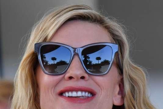 La présidente du jury du Festival, Cate Blanchett à son arrivée à l'hôtel Grand Hyatt de Cannes, le 7 mai.