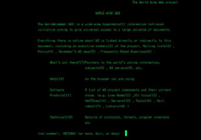 Le premier site du Web, http://info.cern.ch/, dans une version émulée de son affichage d'époque.