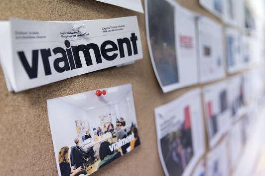 Dans les locaux de la rédaction du magazine « Vraiment », le 15 janvier, à Paris.