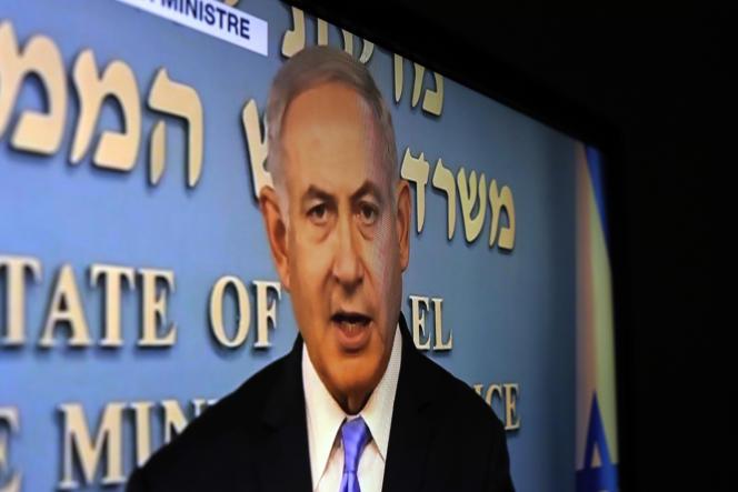 Benyamin Nétanyahou à la télévision israélienne, après la décision américaine de se retirer de l'accord sur le nucléaire iranien, le 8 mai.