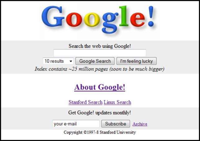 La page d'accueil de Google à ses débuts.