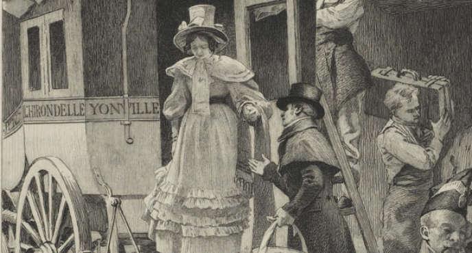 Le voyage à Rouen d'Emma Bovary. (A. Richemont, gravée à l'eau-forte par C. Chessa, Paris, F. Ferroud, 1905.)