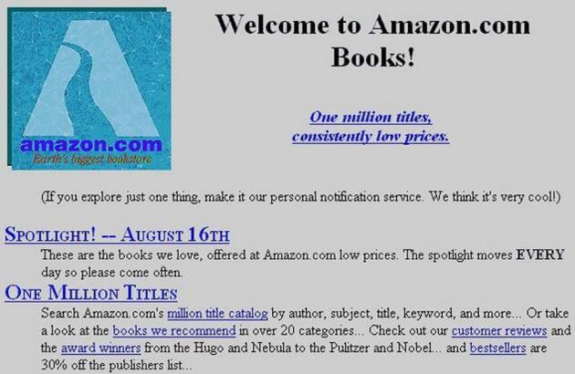 La page d'accueil d'Amazon en 1995.