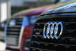 The logo of German carmaker Audi is pictured on new Audi cars on the sidelines of the Audi AG annual general meeting in Ingolstadt, southern Germany, on May 9, 2018. / AFP / CHRISTOF STACHE