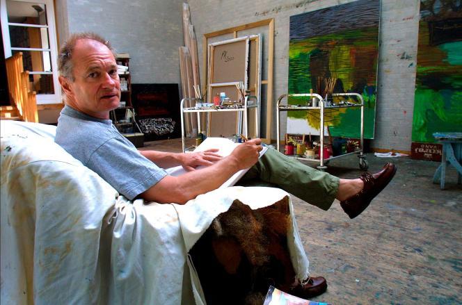 L'artiste danoisPer Kirkeby, en 2002, dans son atelier à Copenhague.