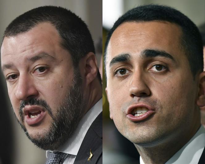 Matteo Salvini (à gauche), le chef de la Ligue et Luigi Di Maio le dirigeant du Mouvement 5 étoiles, le 5 avril, à Rome.