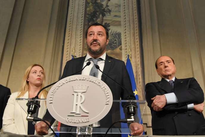 Matteo Salvini avec Silvio Berlusconi au palais du Quirinal, à Rome, le 7 mai 2018.