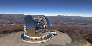 Vue d'artiste du European Extremely Large Telescope (E-ELT).
