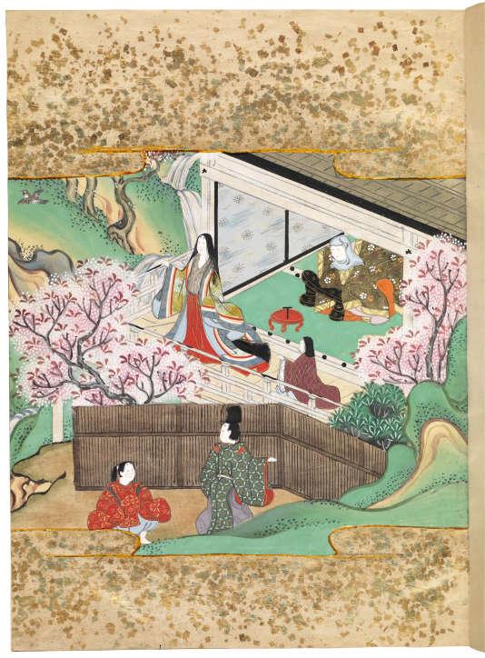 « Genji Monogatari» (« Le Dit du Genji»), Murasaki Shikibu (978-1016), illustration du XVIIe siècle par un artiste de l'école Tosa.