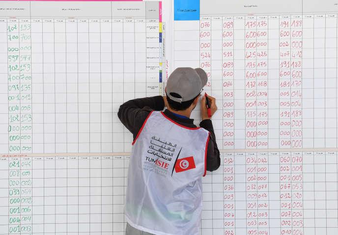 Un membre de l'Instance supérieure indépendante pour les élections (ISIE) décompte les résultats des élections municipales du 6 mai, à Ariana, près de la capitale Tunis, le 7 mai 2018.