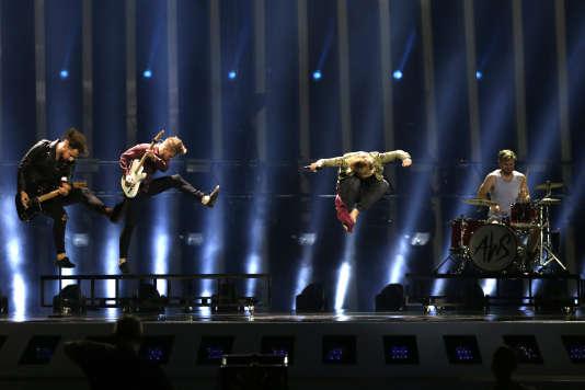 Performance du groupe hongrois, le 11 mai durant la répétion de l'Eurovision.