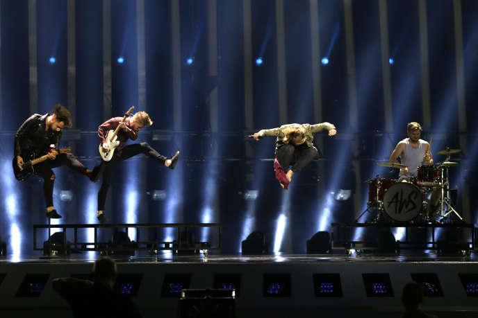 Performance du groupe hongrois, le 11 mai, durant la répétion de l'Eurovision.