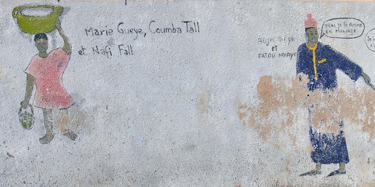 Fresque murale à Saint-Louis, au Sénégal.