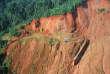 Photo prise en juin 2004 en Guyane d'un flanc de montagne près du village d'orpailleurs illégaux du site de Dorlin.