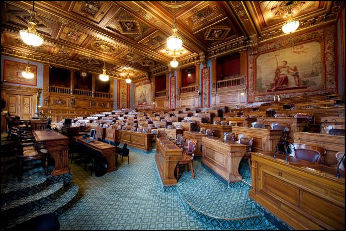 La salle où siège le Conseil de Paris, en mars 2013.