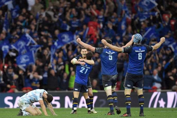 La joie des joueurs irlandais et la déception de Remi Tales , après sa tentative de drop ratée dans les ultimes secondes.