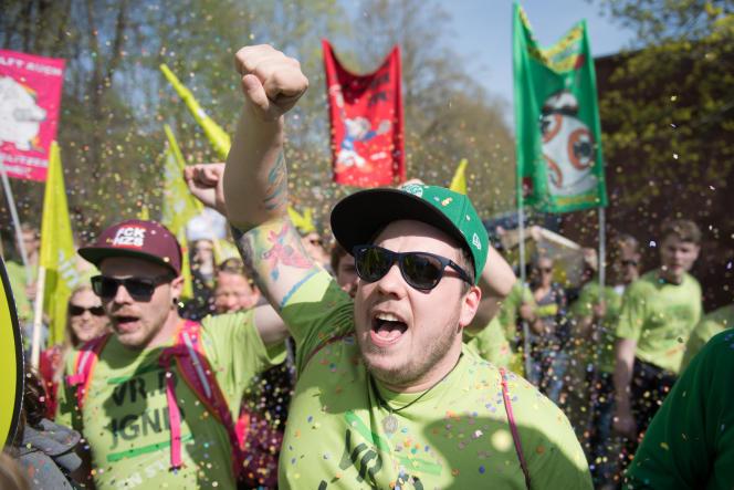 Manifestation, à Potsdam, près de Berlin, en avril, pour réclamer une hausse des salaires dans le secteur public.