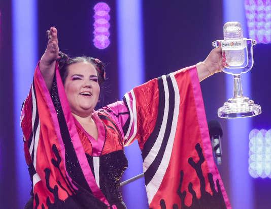 La chanteuse israélienne Netta Barzilai lors de la 63e édition de l'Eurovision, à Lisbonne, au Portugal, le 12 mai.