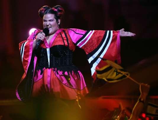 La chanteuse israélienne Netta Barzilai lors de la63e édition de l'Eurovision, à Lisbonne, au Portugal, le 12mai.