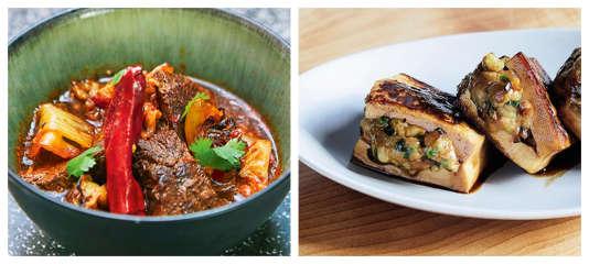 Joues de bœuf à la sichuanaise et tofu farci au porc et aux crevettes.