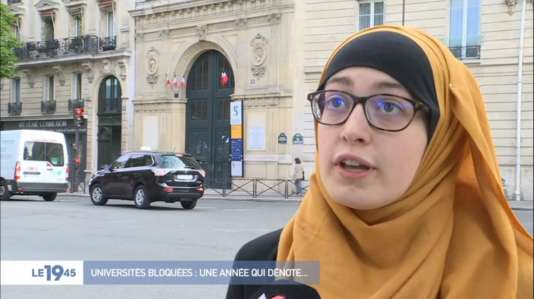 Maryam Pougetoux, présidente du syndicat d'étudiants de gauche UNEF à l'université Paris-IV (Sorbonne université), sur M6.