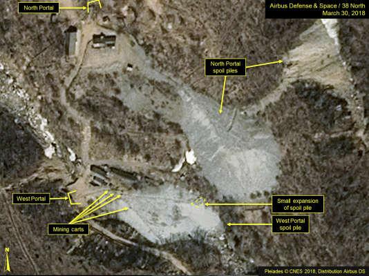 Image satellite datée du 30 mars, diffusée et annotée par Airbus Defense & Space et 38 North, montrant le site d'essai dePunggye-ri, en Corée du Nord.