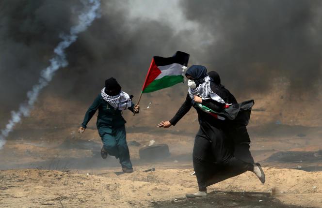 Le 11 mai, à Gaza, lors d'une manifestation à la frontière avec Israël.