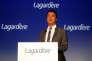 Arnaud Lagardère s'adresse aux actionnaires de son groupe, à Paris, le 3 mai.