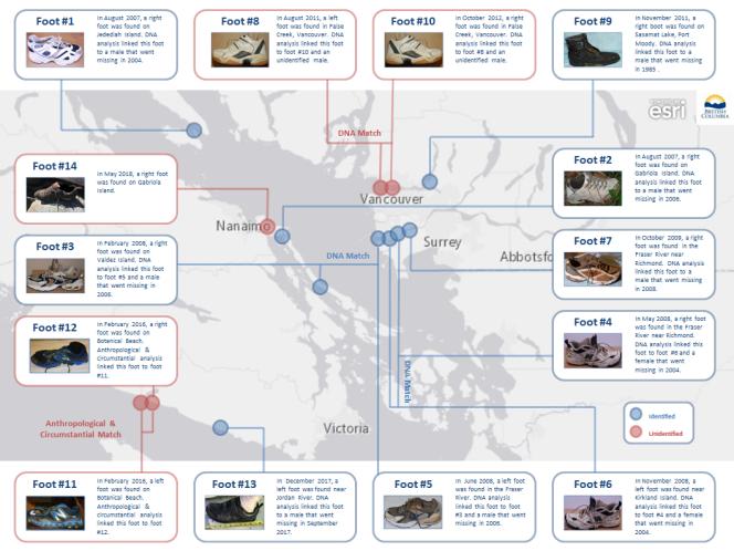 Carte des découvertes de chaussures.