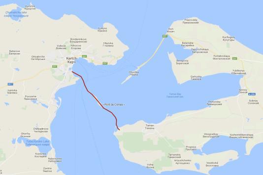 Carte de situation du pont du détroit de Kertch.