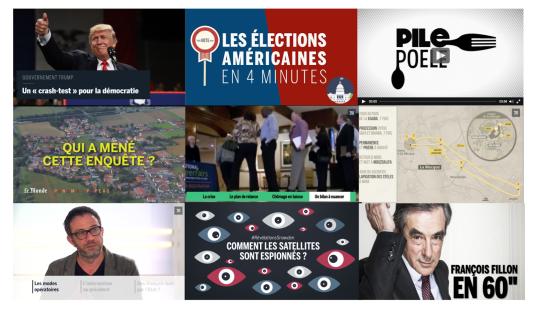 Captures d'écrans de sujets réalisés entre 2012 et 2016.