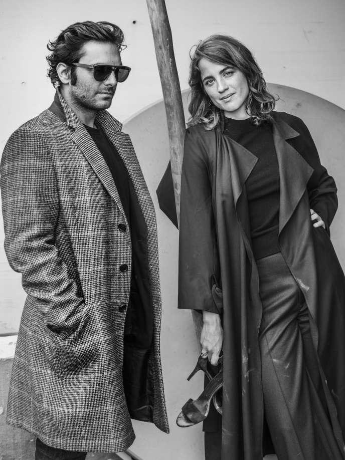 Pio Marmaï et Adèle Haenel sur la plage de la Quinzaine à Cannes, le 14 mai 2018.