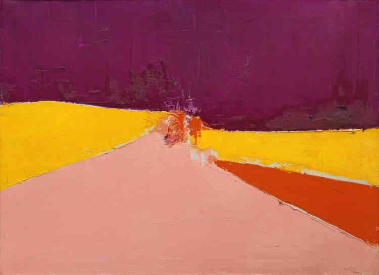 « L'une des toiles les plus fortes de Nicolas de Staël. Les grands aplats triangulaires de jaune, de rouge et de rose structurent le tableau à travers une perspective qui conduit le regard vers le point de convergence éclaté au centre de la toile. Comme si l'élément du paysage scruté par l'œil de l'artiste disparaissait au profit du déploiement de l'espace intensifié par le violet sombre du ciel.»