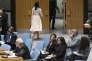 Le 15 mai au siège de l'ONU à New York, l'ambassadrice des Etats-Unis à l'ONU, Nikki Haley, tourne les talons au moment où le représentant de la Palestine prend la parole pour plaider la cause de son peuple après les assauts israéliens meurtriers du lundi 14 mai à Gaza.