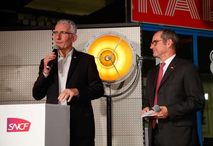 Guillaume Pepy, PDG de la SNCF, et Patrick Jeantet, PDG de SNCF Réseau, le 12 mars, à Paris.