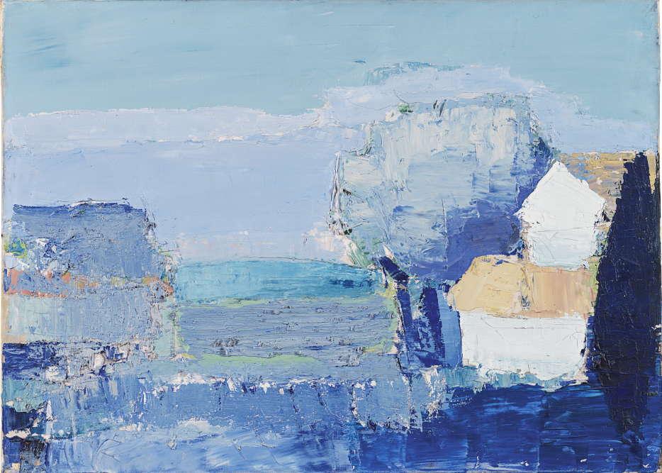 «En arrivant dans son atelier de Lagnes, en juillet1953, le peintre traduit une atmosphère de lumière bleutée et transparente. Les variations les plus subtiles de bleu et de blanc trouvent ici leur contrepoint dans la présence d'un arbre outremer au premier plan à droite de la toile.»