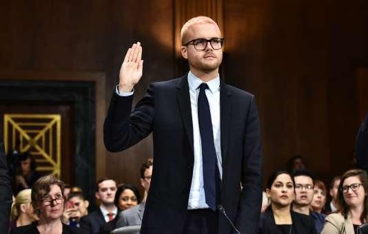 Christopher Wylie devant le comité judiciaire du Sénat des États-Unis, mercredi 17 mai 2018.