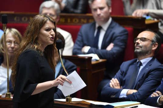 Marlène Schiappa, secrétaire d'Etat chargée de l'égalité entre les femmes et les hommes, lors des questions au gouvernement, le 15mai.