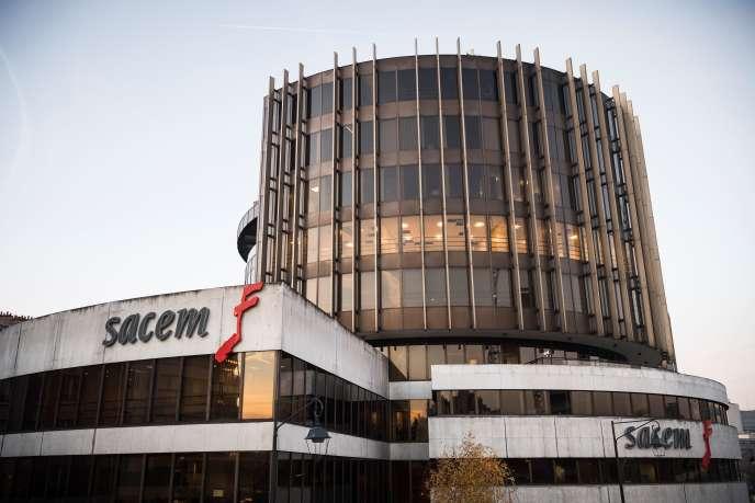 Le siège de la Sacem (Société des auteurs, compositeurs et éditeurs de musique), à la Défense (Paris), en décembre 2016.
