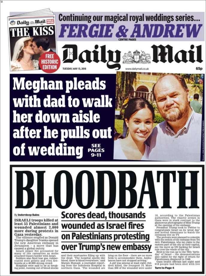 La «une» du «Daily Mail», daté du 15 mai.