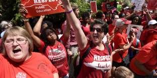 Manifestation d'enseignants àRaleigh, en Caroline du Nord, mercredi 16 mai.