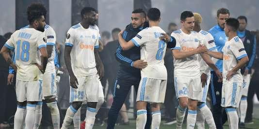 Les joueurs marseillais tentaient de se remonter le moral, après le match.